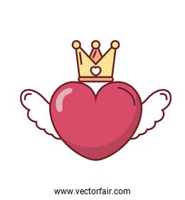 Love heart with wings and crown vector design