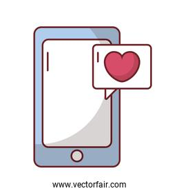 Smartphone with love heart inside bubble vector design