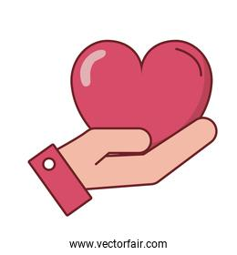 Love heart over hand vector design