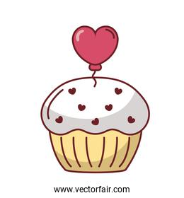 Muffin with heart balloon vector design