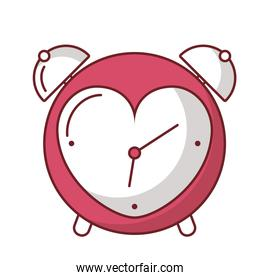 Love heart inside bubble inside clock vector design