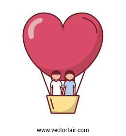 Couple inside love heart hot air balloon vector design