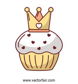Love heart inside crown over muffin vector design