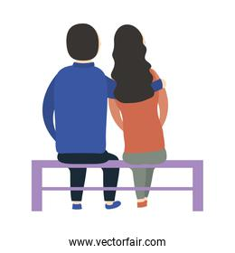 Couple of woman and man on bench vector design