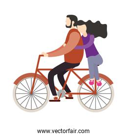 Couple of woman and man on bike vector design