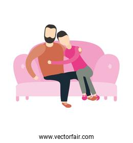 Couple of woman and man on couch vector design