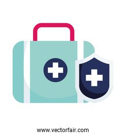 Isolated medical kit and shield vector design
