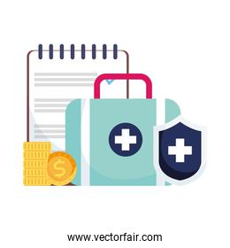 Isolated medical kit shield document and coins vector design