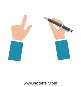 Isolated hand with pen vector design