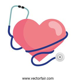 heart with stethoscope vector design