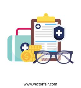 Medical kit shield document glasses and coins vector design