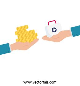 Isolated medical kit and coins over hand vector design