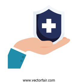 shield with cross over hand vector design