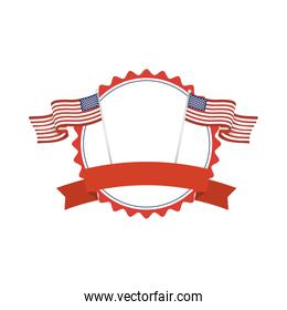 Usa seal stamp with flags and ribbon vector design