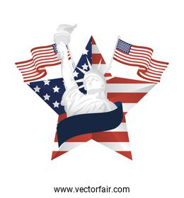Usa flags and liberty statue inside star vector design
