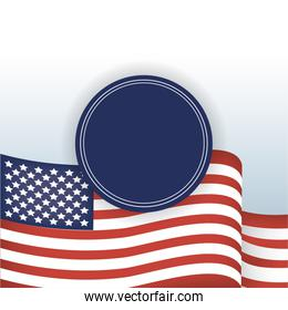 Usa flag and blue seal stamp vector design