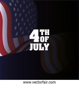Usa flag on 4th of july vector design