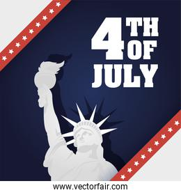 Usa liberty statue on 4th of july vector design