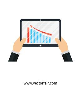 Hands holding tablet with infographic of bars chart vector design