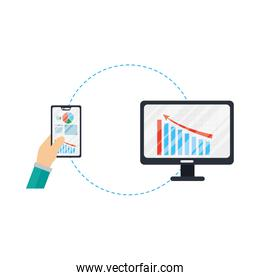 Hands holding smartphone and computer with infographic vector design