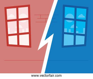 Divided house with window vector design