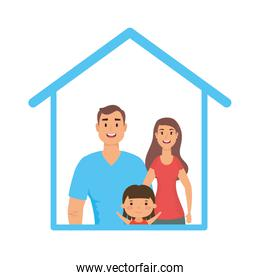 Father mother and daughter inside house vector design