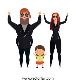 Mother father and daughter with rock style vector design
