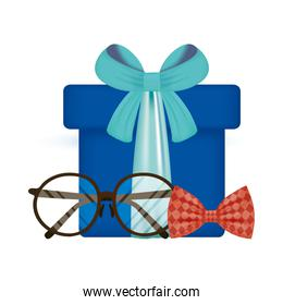 glasses bowtie and gift of fathers day vector design