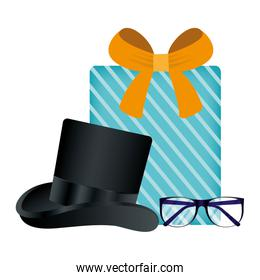 glasses hat and gift of fathers day vector design
