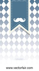 mustache on banner of fathers day vector design