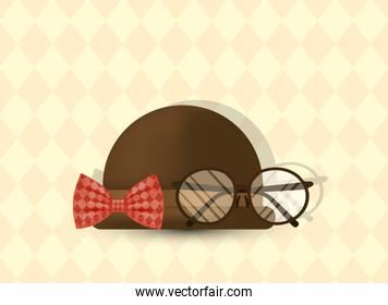 glasses bowtie and hat of fathers day vector design