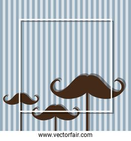 mustaches with frame of fathers day vector design