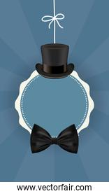 hat with bowtie around seal stamp of fathers day vector design