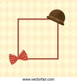 hat with bowtie around frame of fathers day vector design