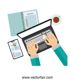 Hands with laptop and smartphone with infographic vector illustration