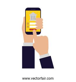 Hand holding smartphone with bank vector design