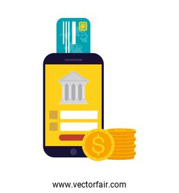 Smartphone with bank credit card and coins vector design