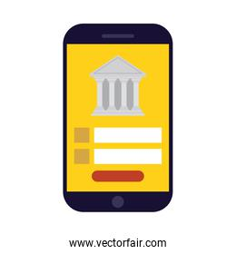 Smartphone with bank vector design