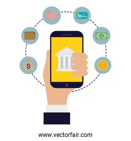 Hand holding smartphone with bank and icons vector design