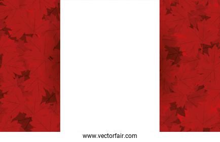 Canadian flag with maple leaves of happy canada day vector design