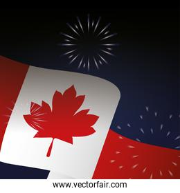 Canadian flag with fireworks of happy canada day vector design