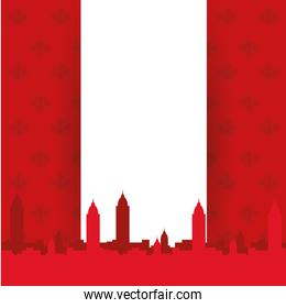 Canadian flag with city building silhouette of happy canada day vector design