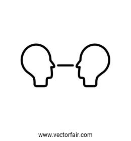 communication concept, heads face to face icon, line style