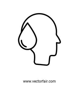 head with water drop icon, line style