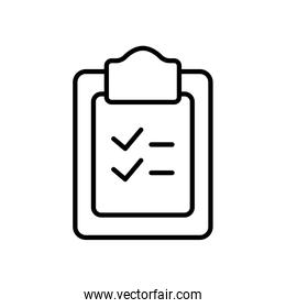 clipboard with checklist icon, line style