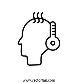Coronavirus concept, fever symbol, head with thermometer icon, line style