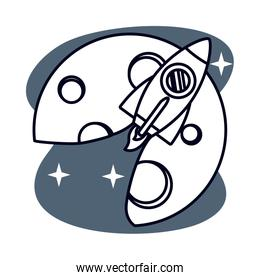 rocket launcher space isolated icon