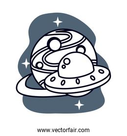 ufo flying space isolated icon