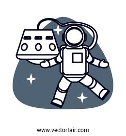 astronaut in space isolated icon