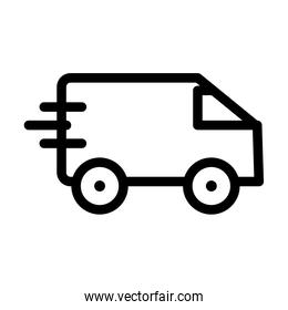 fast delivery van icon, line style